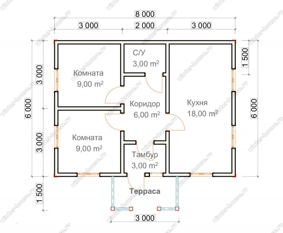 Планировка одноэтажного дома для постоянного проживания 7,5 на 8 с террасой