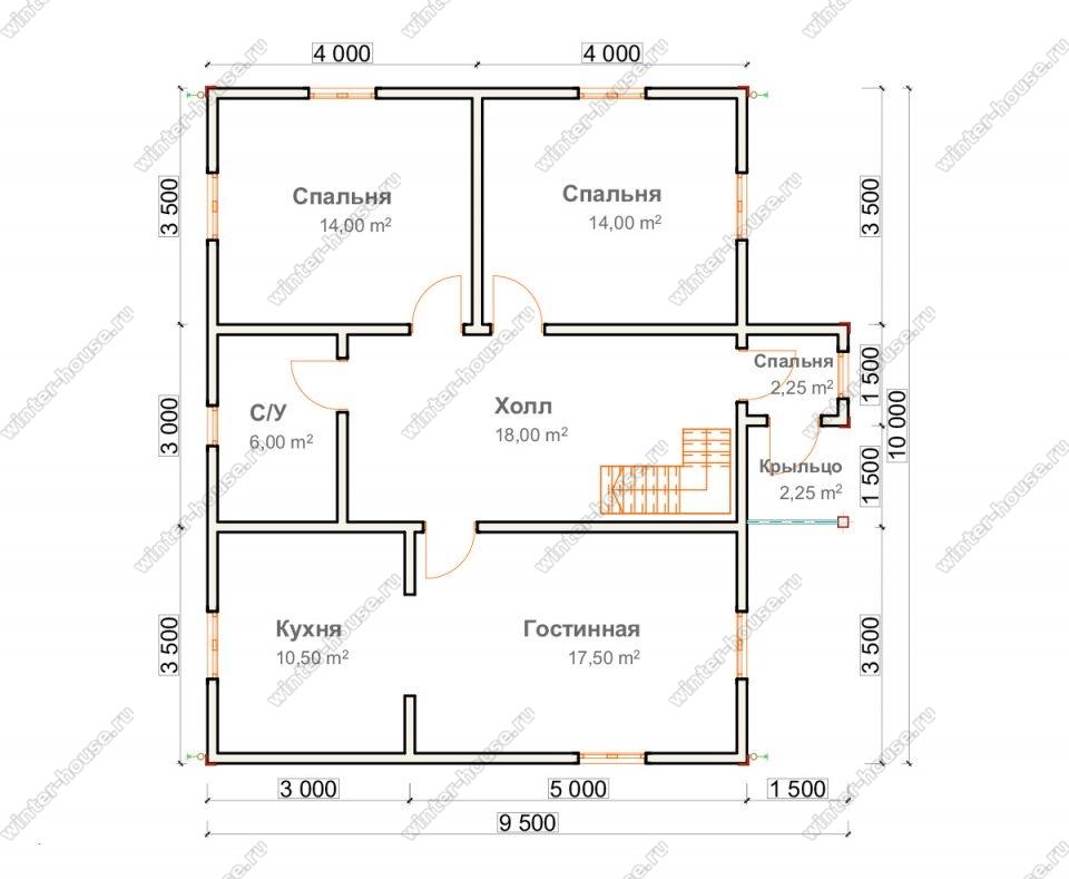 Планировка дома для постоянного проживания 9,5 на 10 с мансардой