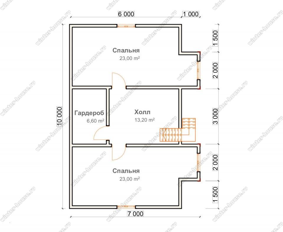 План дома для постоянного проживания 9,5х10 с мансардой