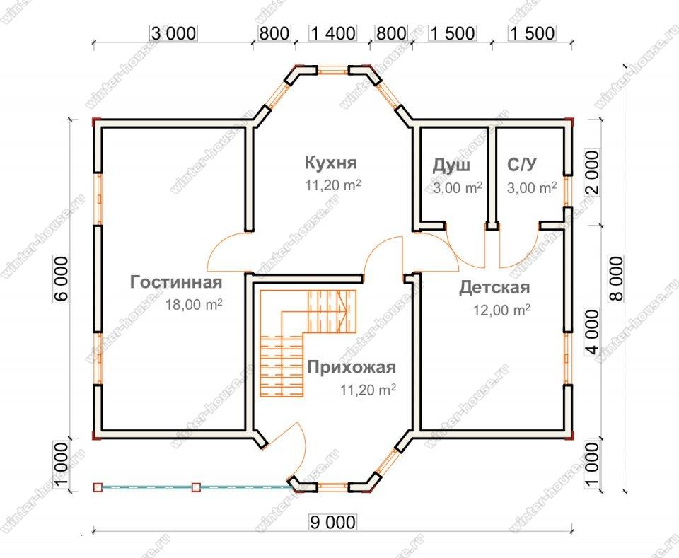 Планировка двухэтажного дома для постоянного проживания 8 на 9 с террасой