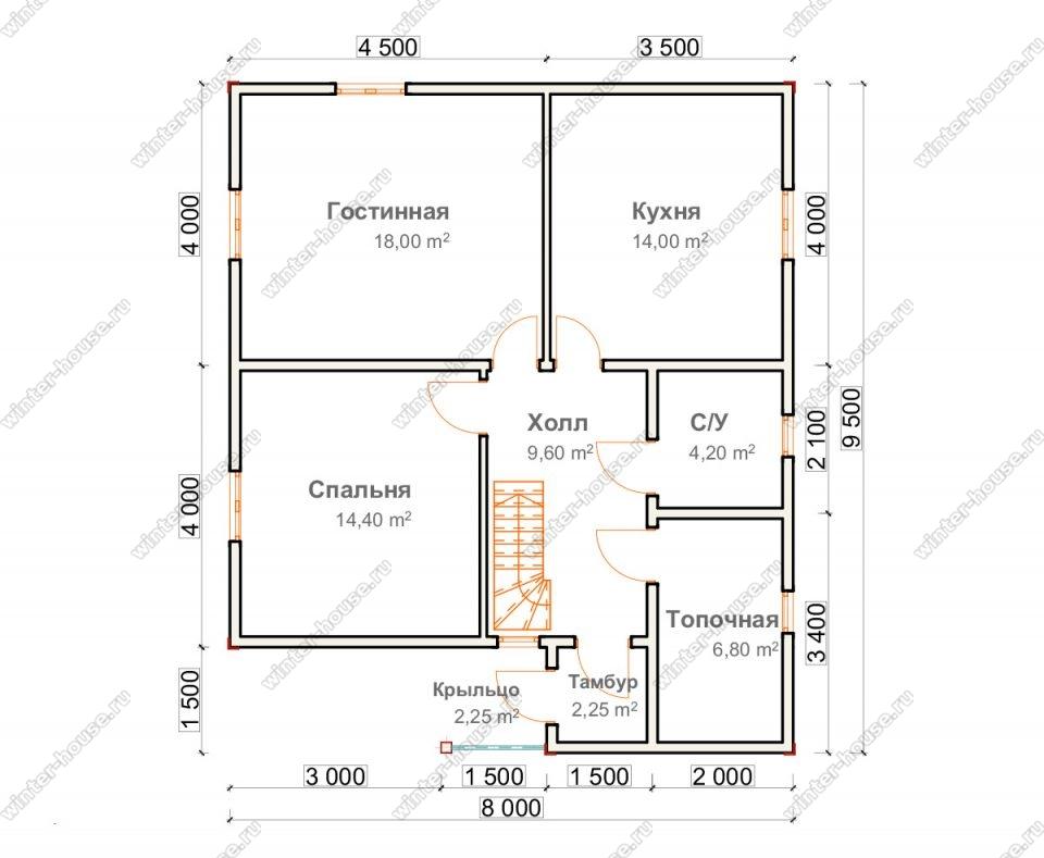 Планировка двухэтажного дома для постоянного проживания 8 на 9,5