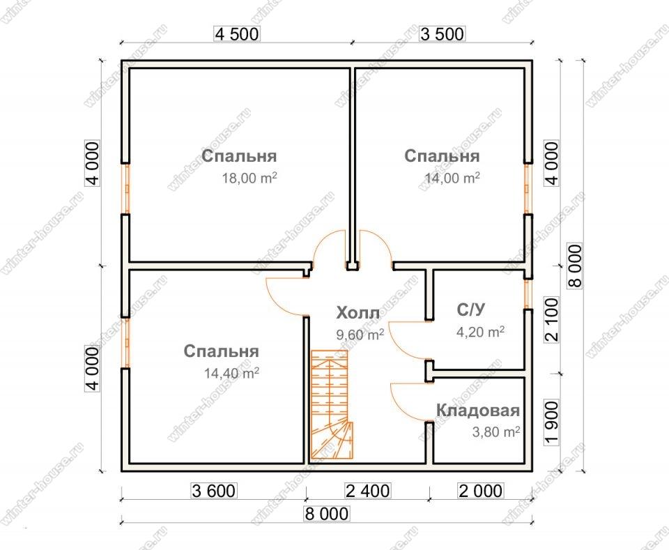 План двухэтажного дома для постоянного проживания 8х9,5
