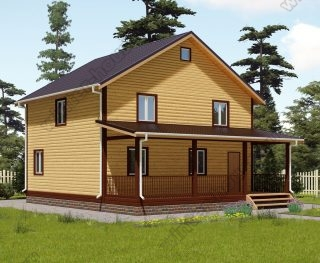 Проект двухэтажного дома для постоянного проживания 9 на 10,5 с террасой