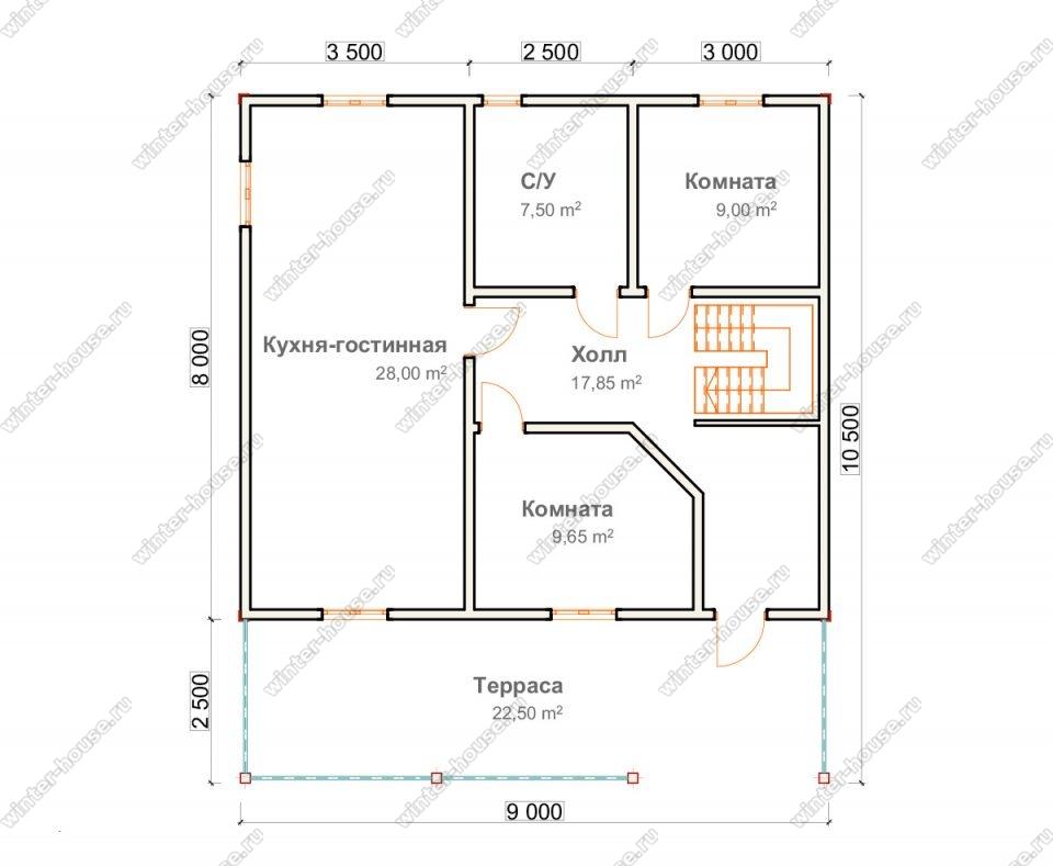 Планировка двухэтажного дома для постоянного проживания 9 на 10,5 с террасой