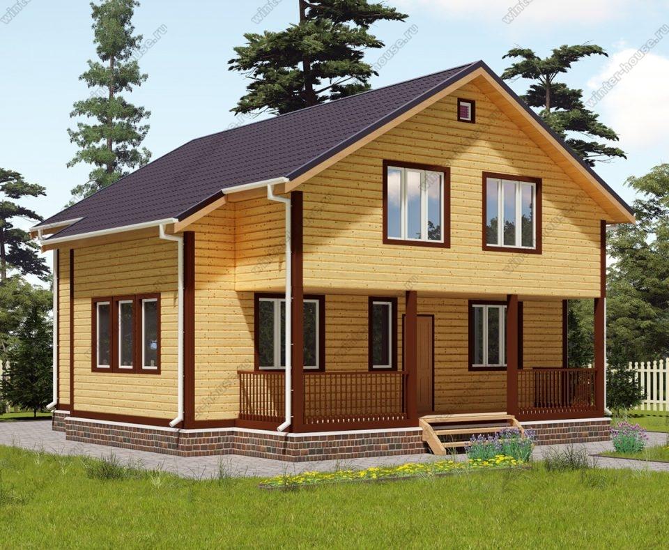 Проект двухэтажного дома для постоянного проживания 10 на 10 с террасой
