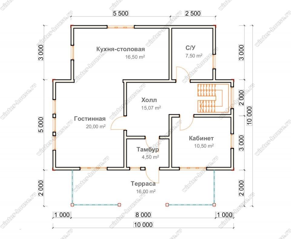 Планировка двухэтажного дома для постоянного проживания 10 на 10 с террасой