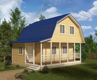 Проект дома для постоянного проживания 7,5 на 7,5 с мансардой и террасой