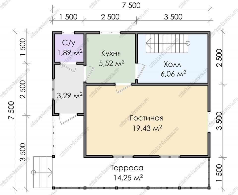 Планировка дома для постоянного проживания 7,5 на 7,5 с мансардой и террасой