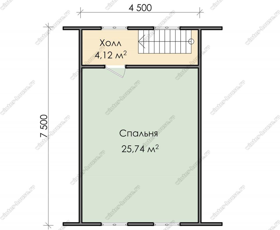 План дома для постоянного проживания 7,5х7,5 с мансардой и террасой
