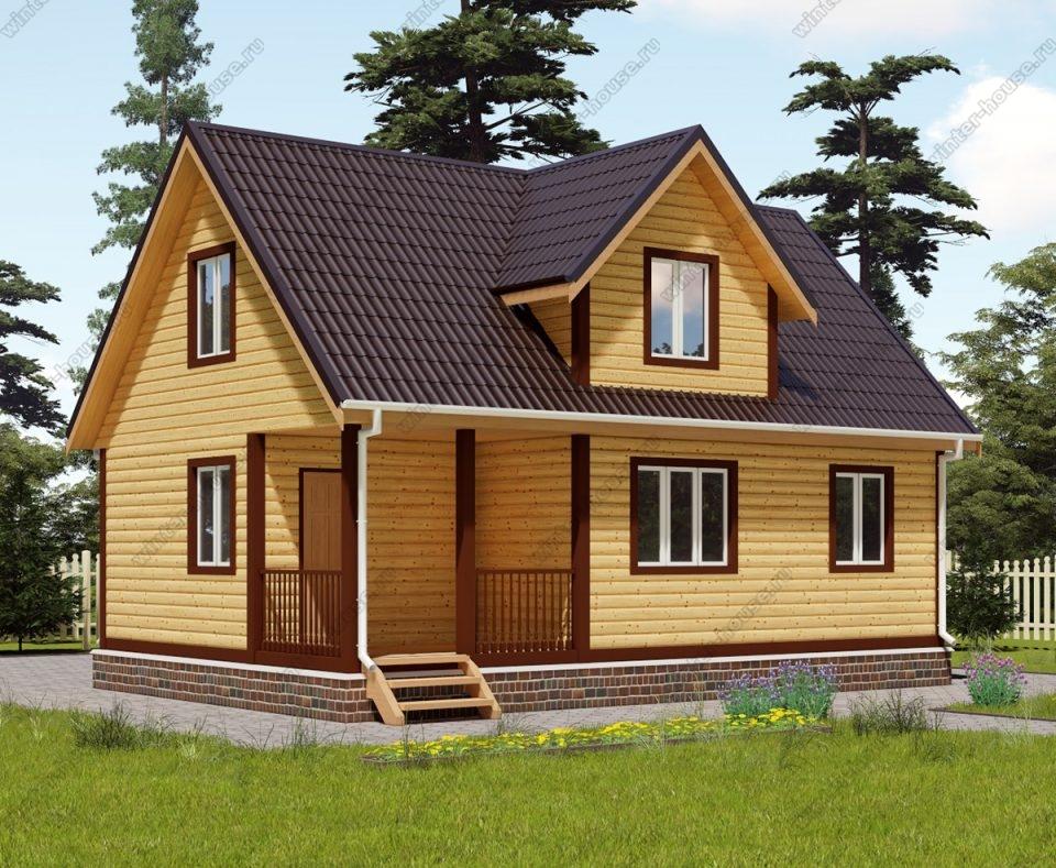 Проект дома для постоянного проживания 6 на 9 с мансардой и террасой