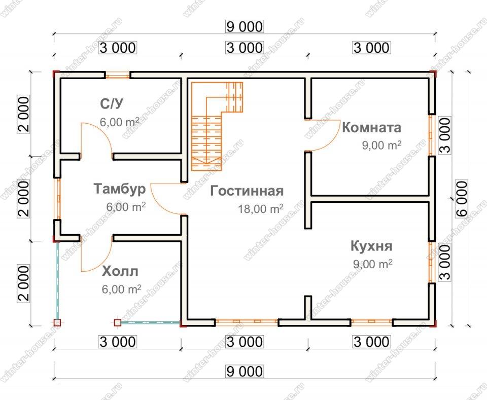 Планировка дома для постоянного проживания 6 на 9 с мансардой и террасой