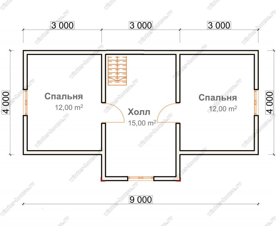 План дома для постоянного проживания 6х9 с мансардой и террасой