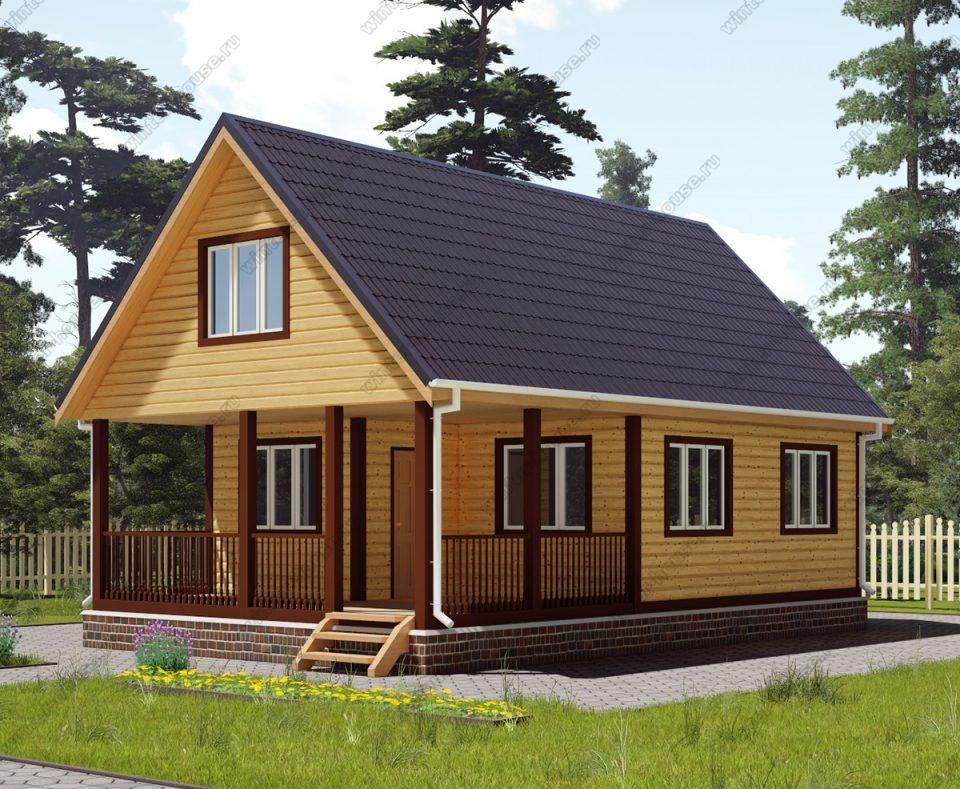 Проект дома для постоянного проживания 6 на 10 с мансардой и террасой