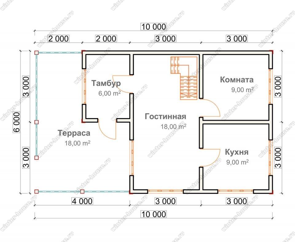 Планировка дома для постоянного проживания 6 на 10 с мансардой и террасой