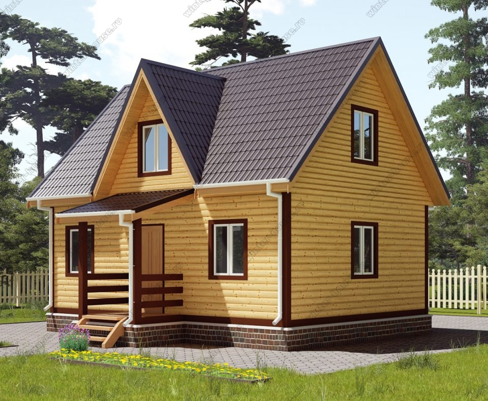 Проект дома для постоянного проживания 7,5 на 8 с мансардой и террасой