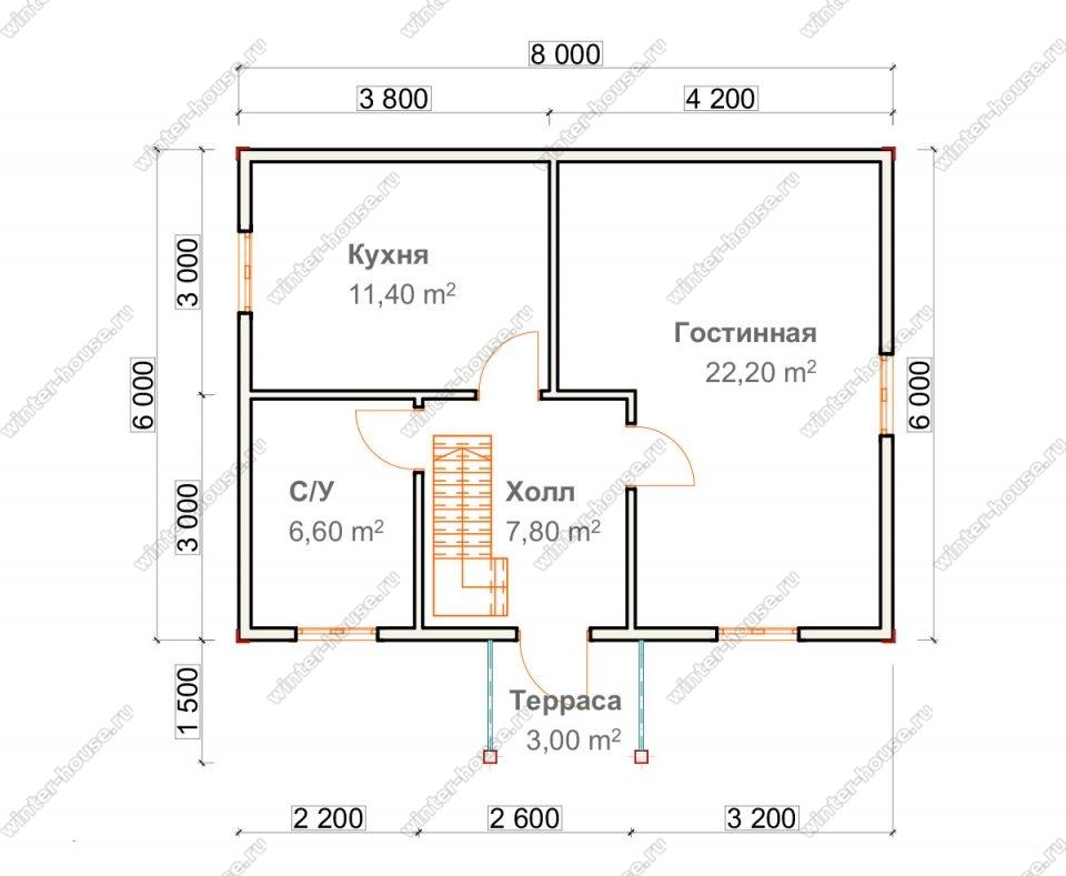 Планировка дома для постоянного проживания 7,5 на 8 с мансардой и террасой