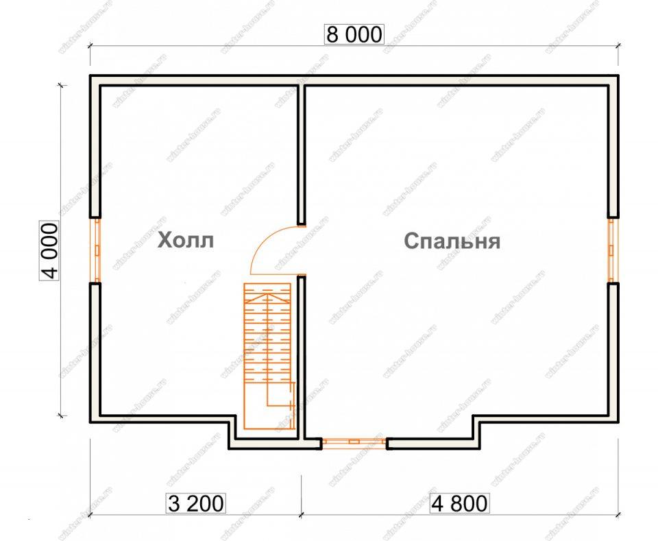 План дома для постоянного проживания 7,5х8 с мансардой и террасой