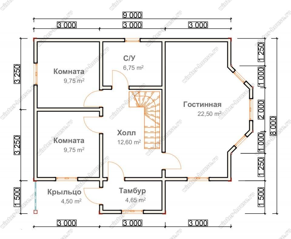 Планировка двухэтажного дома для постоянного проживания 8 на 10