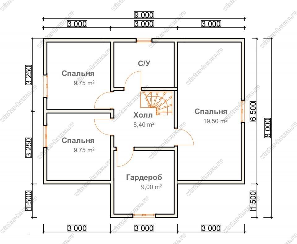 План двухэтажного дома для постоянного проживания 8х10