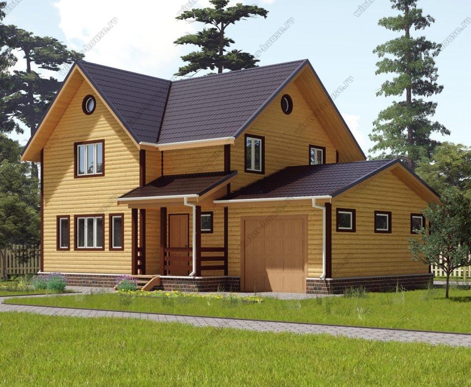 Проект двухэтажного дома для постоянного проживания 8 на 12,5 с гаражом