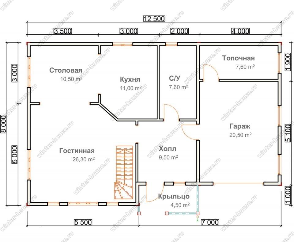Планировка двухэтажного дома для постоянного проживания 8 на 12,5 с гаражом