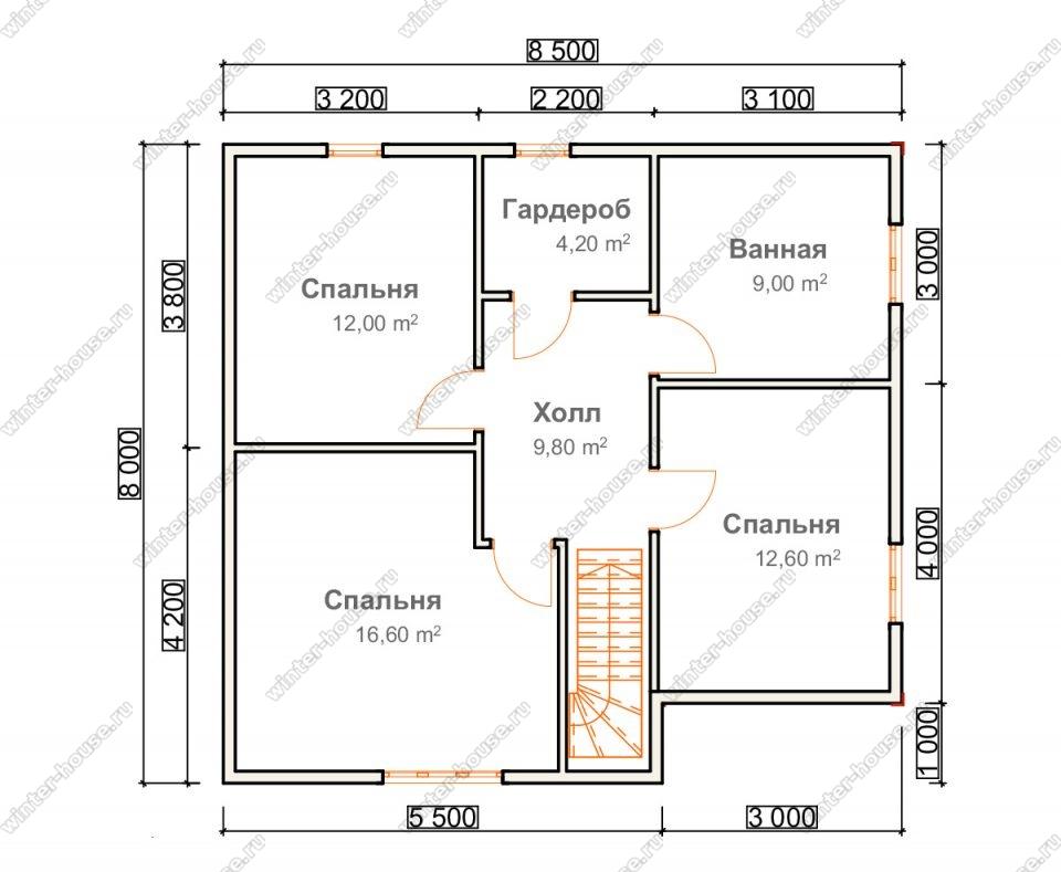План двухэтажного дома для постоянного проживания 8х12,5 с гаражом
