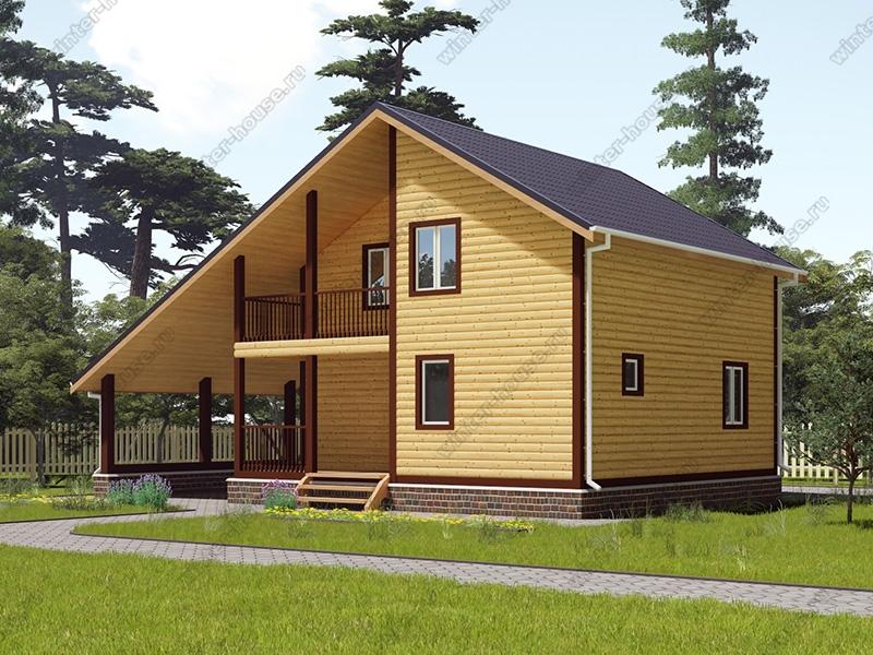 Проект двухэтажного дома для постоянного проживания 8 на 12 с навесом под машину