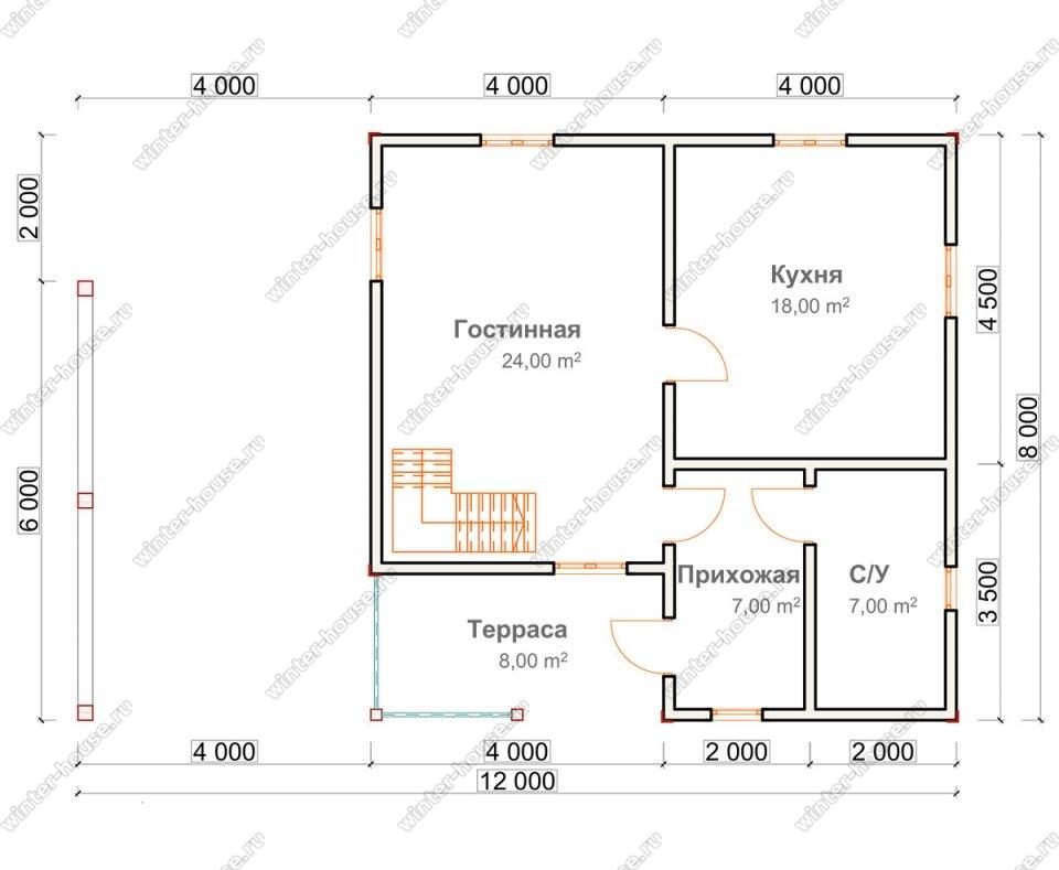 Планировка двухэтажного дома для постоянного проживания 8 на 12 с навесом под автомобиль