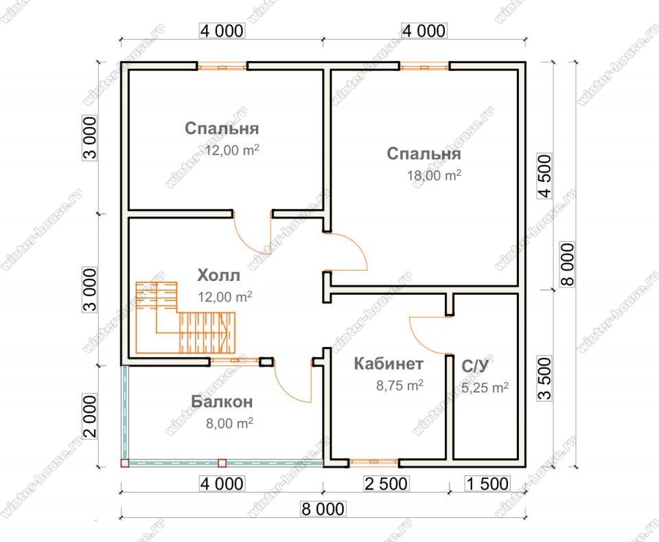 План двухэтажного дома для постоянного проживания 8х12