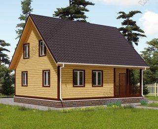 Проект дома для постоянного проживания 7,5 на 9 с мансардой и террасой