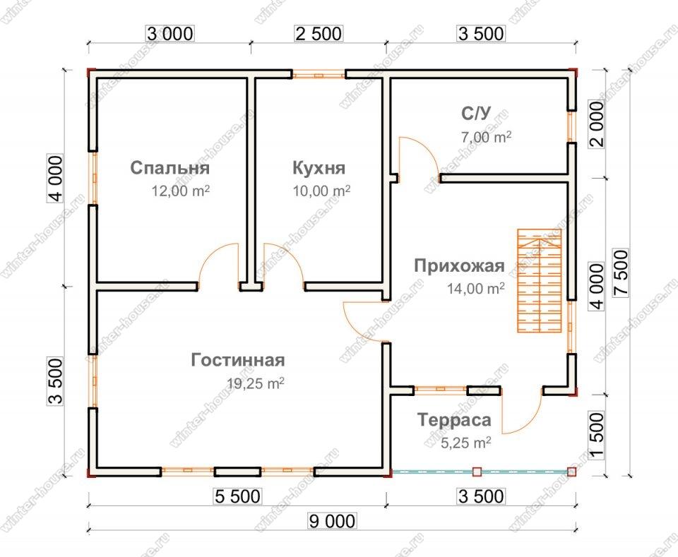 Планировка дома для постоянного проживания 7,5 на 9 с мансардой и террасой