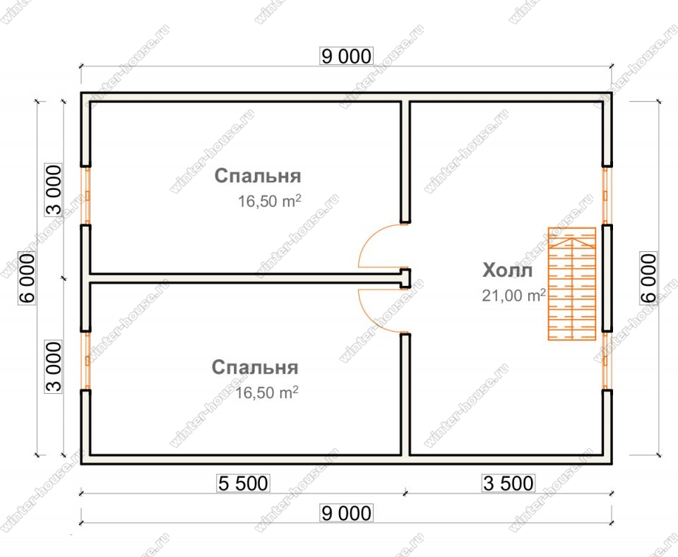 План дома для постоянного проживания 7,5х9 с мансардой и террасой