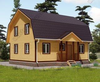 Проект дома для постоянного проживания 8 на 9 с мансардой и террасой