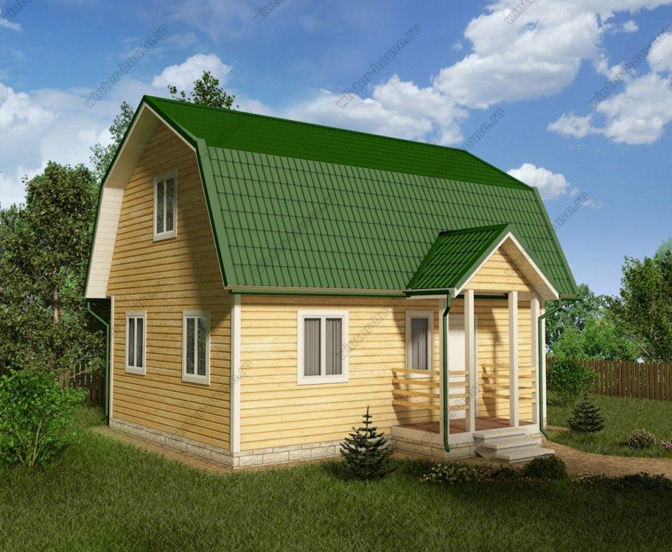 Проект дома для постоянного проживания 6 на 8 с мансардой и террасой