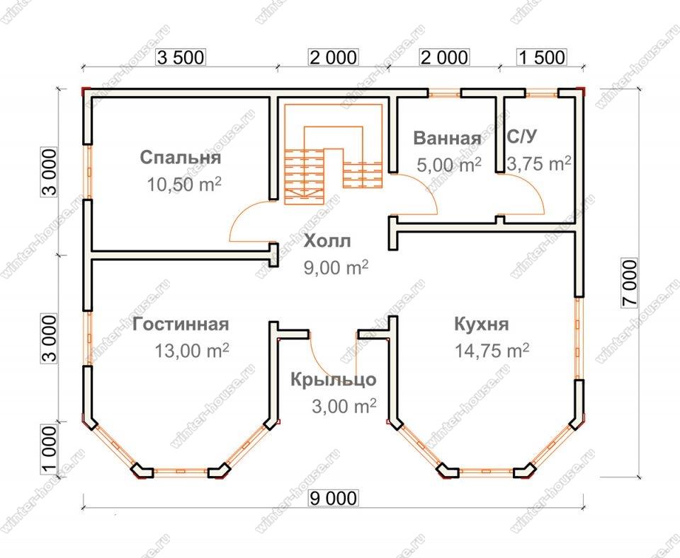 Планировка двухэтажного дома для постоянного проживания 7 на 9