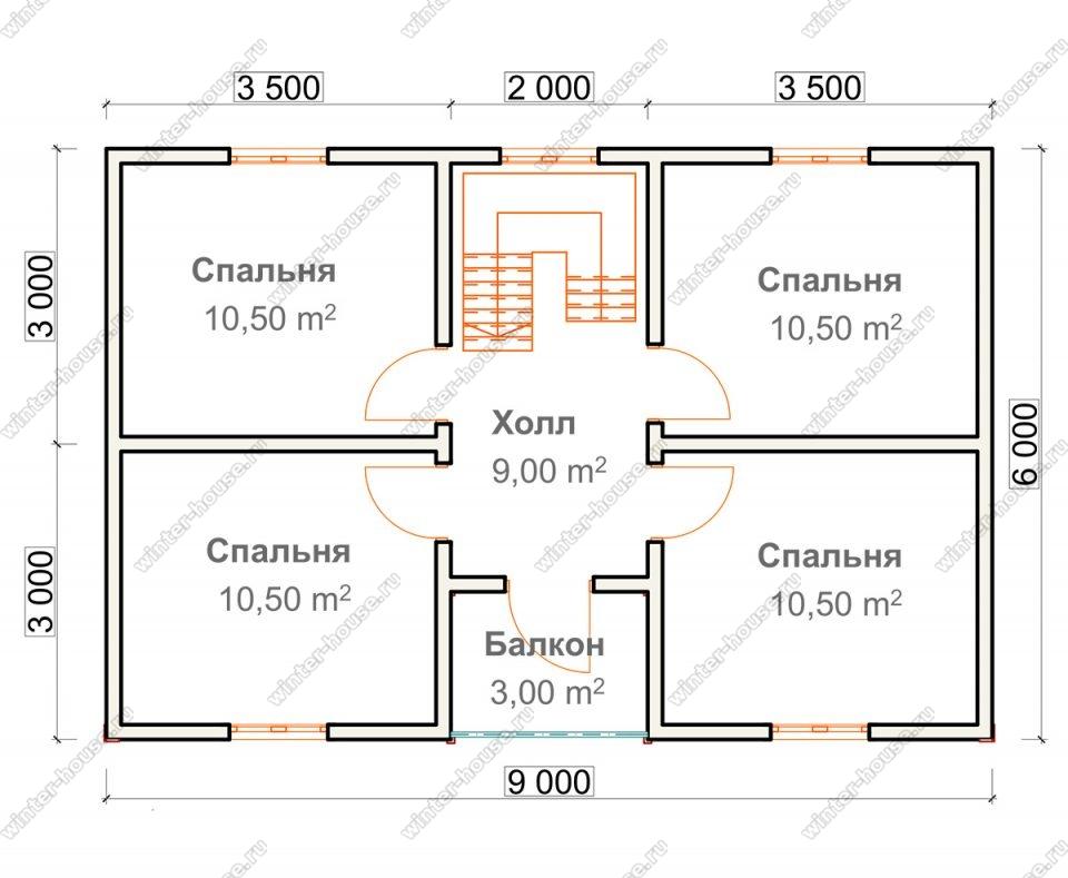 План двухэтажного дома для постоянного проживания 7х9
