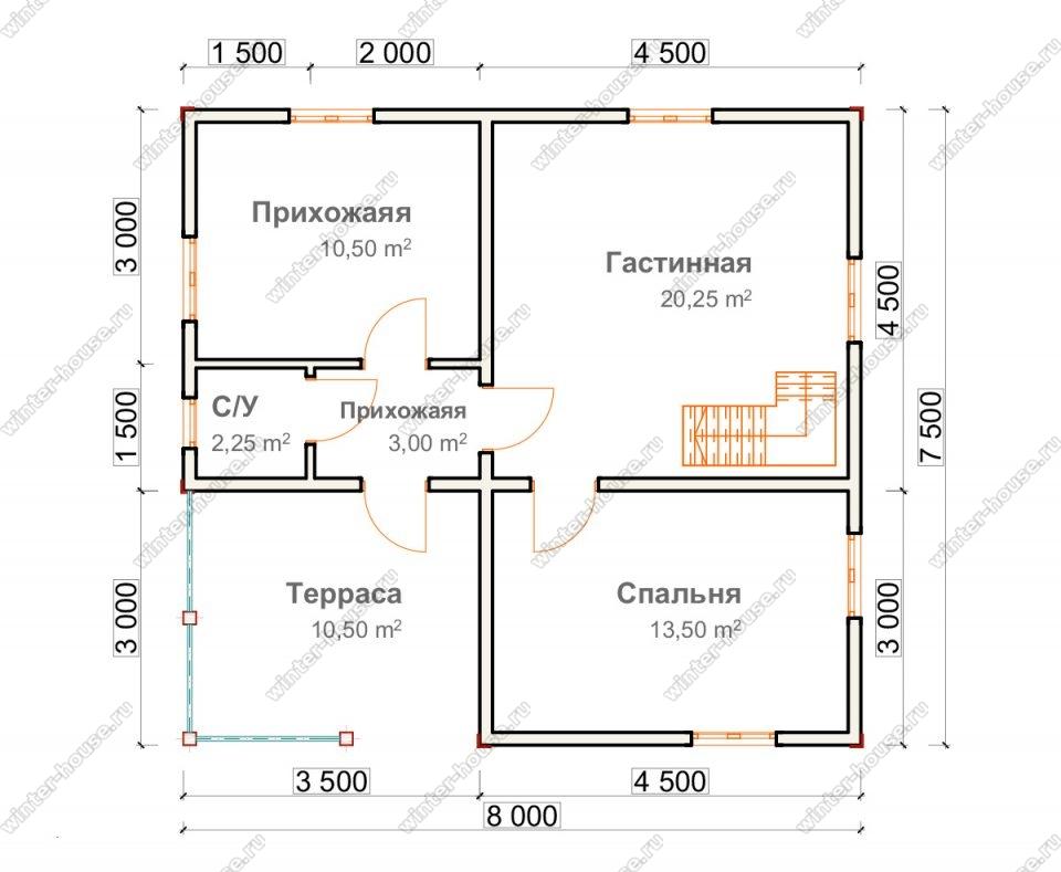 Планировка двухэтажного дома для постоянного проживания 7,5 на 8