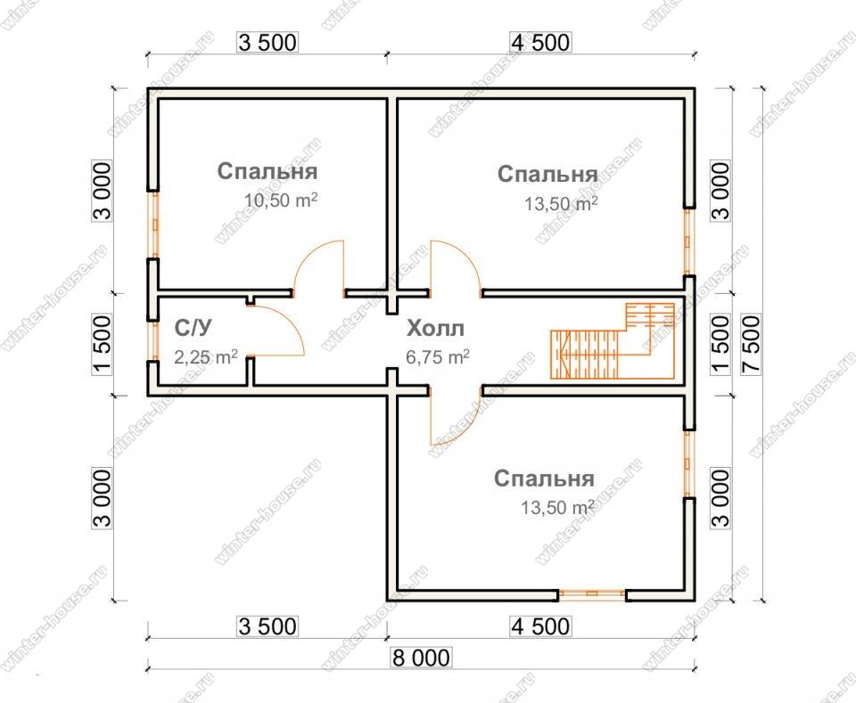 План двухэтажного дома для постоянного проживания 7,5х8