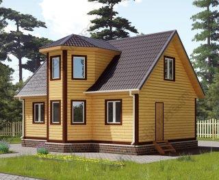Проект дома для постоянного проживания 7,3 на 9 с мансардой