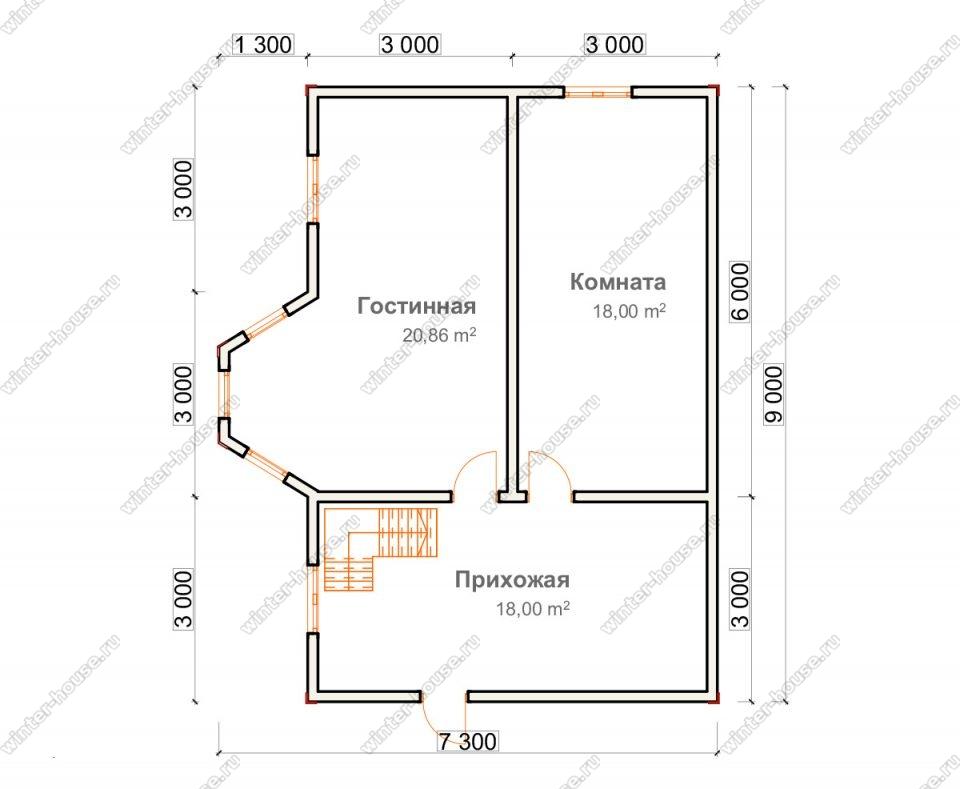 Планировка дома для постоянного проживания 7,3 на 9 с мансардой