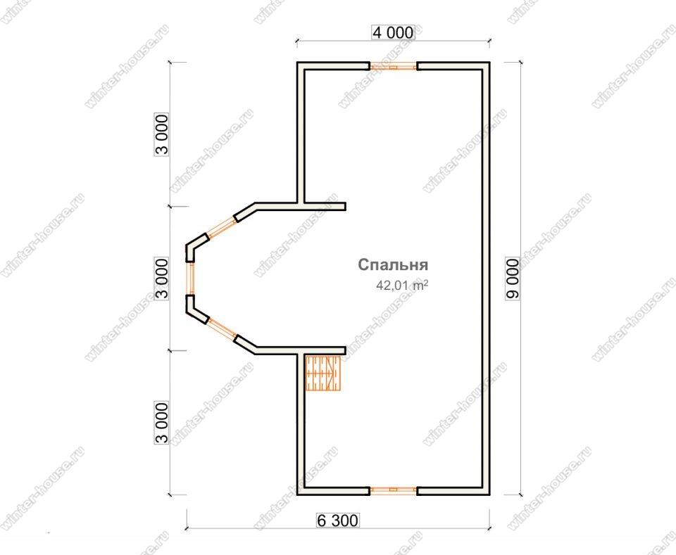 План дома для постоянного проживания 7,3х9 с мансардой