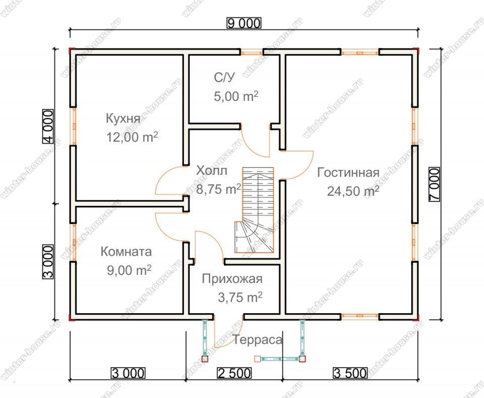 Планировка двухэтажного дома для постоянного проживания 7 на 9 с террасой