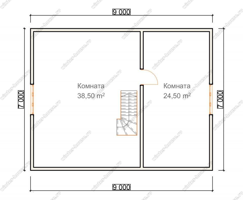 План двухэтажного дома для постоянного проживания 7х9 с террасой