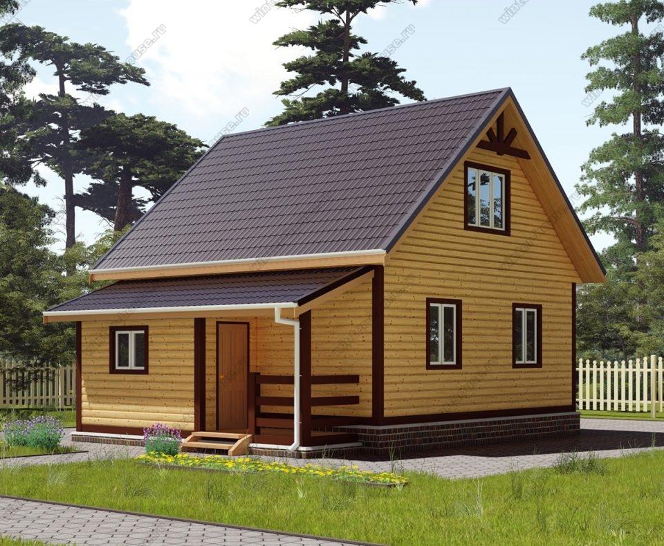 Проект дома для постоянного проживания 7 на 8,5 с мансардой и террасой