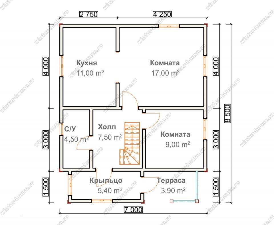 Планировка дома для постоянного проживания 7 на 8,5 с мансардой и террасой