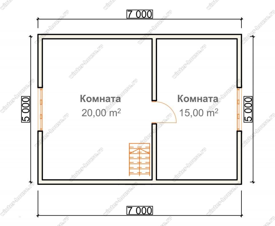 План дома для постоянного проживания 7х8,5 с мансардой и террасой
