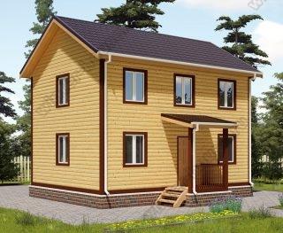 Проект двухэтажного дома для постоянного проживания 7,5 на 8 с террасой