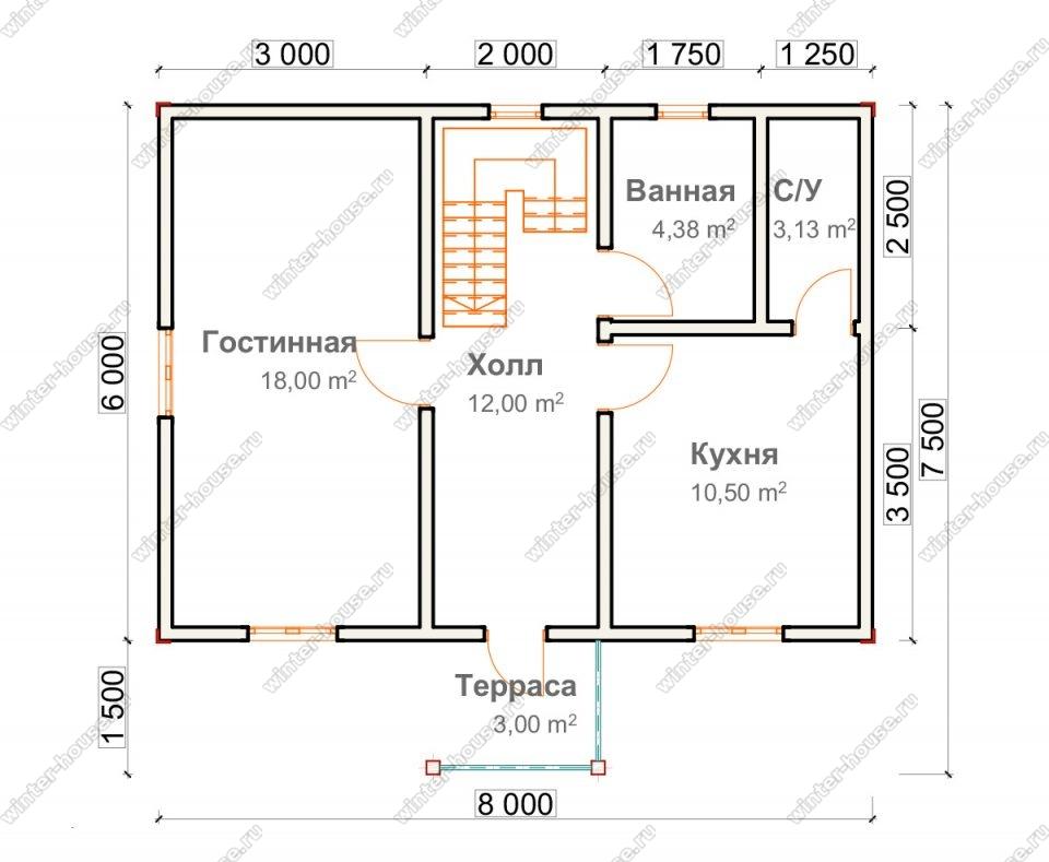 Планировка двухэтажного дома для постоянного проживания 7,5 на 8 с террасой