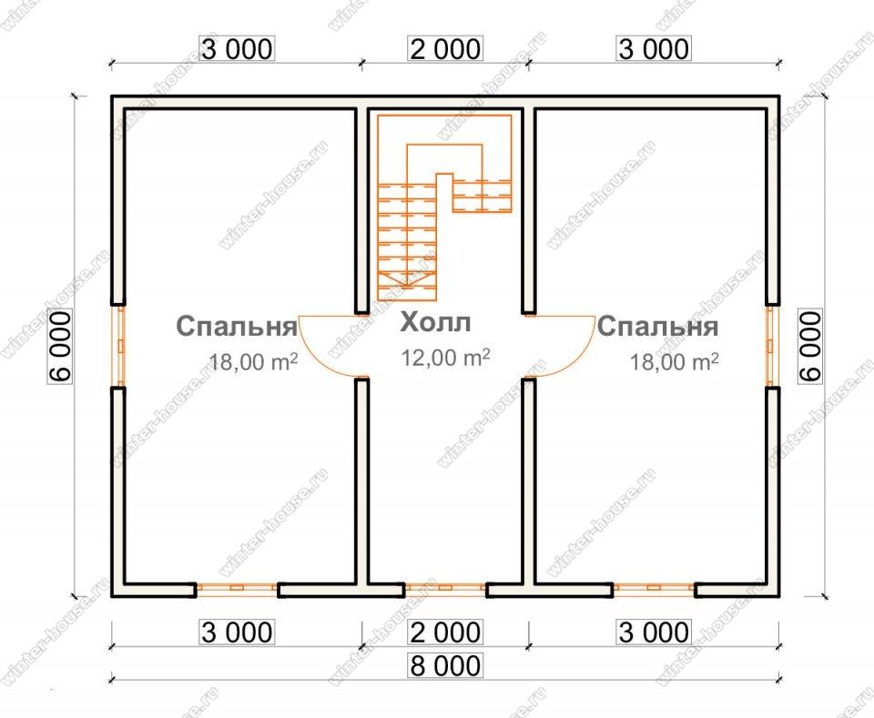План двухэтажного дома для постоянного проживания 7,5х8 с террасой