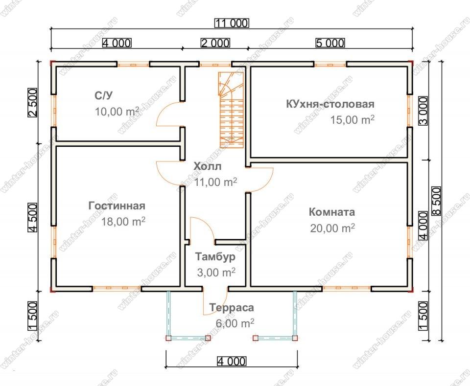 Планировка дома для постоянного проживания 8,5 на 11 с мансардой